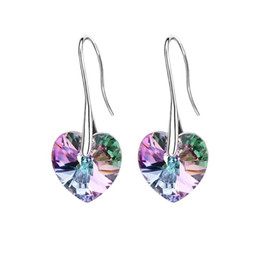 Wholesale Making Crystal Earrings - Crystal heart pendant eardrop earrings Made with SWAROVSKI ELEMENTS for 2018 Mother's Day women gift