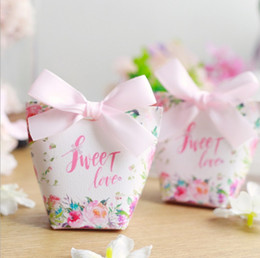 Wholesale Paper Bags Romantic Gift - Romantic White Pink Gift Bag Elegant Luxury Wedding Decoration Ribbon THANK YOU Party Event Supplies Guest Paper Candy Box