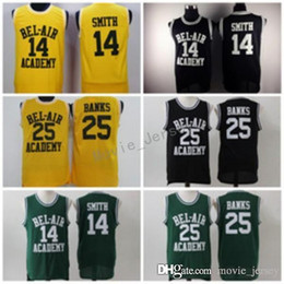 fresh shirts Coupons - 14 WILL SMITH Jerseys The Fresh Prince 25 Carlton Banks Jersey OF BEL-AIR Basketball BEL AIR Academy Yellow Shirt Black Green (TV Sitcom)