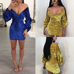 Wholesale Hip Cocktail Dresses - Women Bandage Bodycon dress Fashion sexy deep V Gold velvet Package hip skirt Ladies Club Party Cocktail Mini Dress Casual Dresses