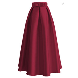 Wholesale maxi skirt woman - Elegant Long Skirt A Line Maxi Skirt Fashion Muslim Women Skirts Islamic BallSkirt with Bowknot Islamic Every Wear