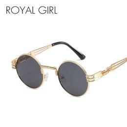 4a5b1576497 ROYAL GIRL Steampunk Round Sunglasses Women Brand Designer Polarized Black  Pink Eyeglasses Men Metal Spring Legs Oculos ss417