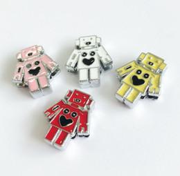 Colliers pour animaux de compagnie de 8 mm en Ligne-10pcs couleur mélangée 8MM émail robot glissière charmes perles ajustement 8mm collier pour animaux de compagnie ceintures bracelets bandelettes de téléphone