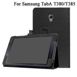2019 capas resistentes à gota do ipad PU capa de couro para Samsung Galaxy Tab A 8.0 2017 T380 T385 SM-T385 Tablet Stand Case Folio