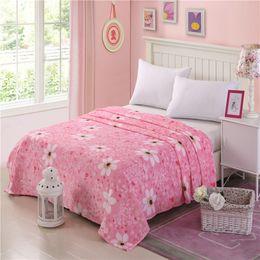 biancheria da letto di princess full size pink Sconti Coperte di lana fiori bianchi rosa Moda principessa floreale doppia full queen king size coperta in pile per letti copriletto MT270
