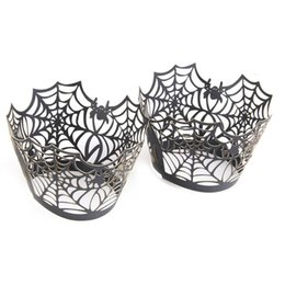 Wholesale halloween cupcake wrappers - 50pcs Spiderweb Laser Cut Cupcake Wrappers Wraps Liners Wedding Birthday Party Halloween Cake Decoration (Black)