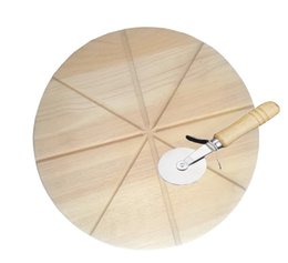 Wholesale used wood tools - Round Wooden Multiple-Use Chopping Block Cutting Board Natural Color Wood with Pizza Cutter Tools for Pizza