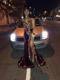 Wholesale Girls Pageant Dresses Size 16 - Gold Lace Evening Dresses High Split Prom Pageant Gowns 2018 Modest Fashion Sweet-neck Sexy Full length Black Girl Celebrity Occasion Dress