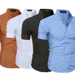 Простые блузки онлайн-New Style Men Formal Office Shirt Short Sleeve  Plain Blouse Shirt Men Fashion Business Slim Fit Plus Size M-3XL