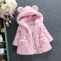 Wholesale Black Ear Pads - Children's autumn and winter new girls wool sweater children's imitation fur jacket big ears padded jacket