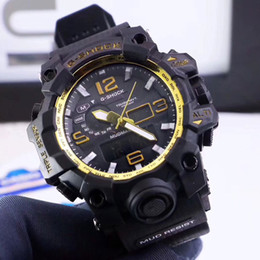 Wholesale Dial Led - Sport men watches luxury brand 47mm dial LED Digital 100m waterproof Rubber strap male wristwatches for man clock Water Resistant relogios