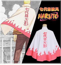 Wholesale Naruto Uzumaki Shippuden - Hot Sale Naruto Shippuden Costume 7th Yondaime Hokage Cosplay Cloak Uzumaki Naruto Cape for Boys or Girls