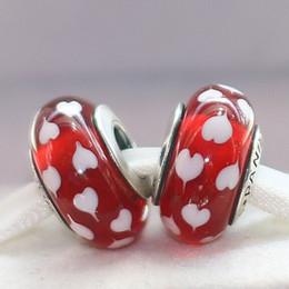 Deutschland 2 stücke 925 Sterling Silber Gewinde Lampwork Red Heart Murano Glas Lose Perlen Fit Europäischen Pandora DIY Armband Halskette-m34 Versorgung