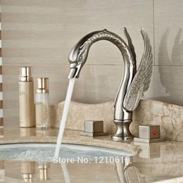 Wholesale Swan Faucets Sinks Bathroom - Newly Swan Shape Bath Sink Faucet Basin Faucet Nickel Brushed 3Pcs Bathroom Mixer Tap Dual Handles