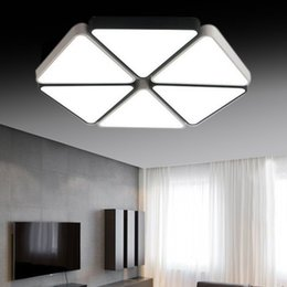 Wholesale corner triangle - Creative six corners black and white triangle LED modern geometric element iron material ceiling lamp