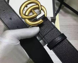 free gift picture 2018 - HOT ! Classic style designer belt wide with double alphabet G luxury brand buckle belt real picture 105-125cm good quality for gifts