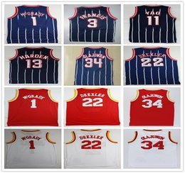 Venta al por mayor online-Barato al por mayor Retro cosido Jersey de calidad superior para hombre blanco azul rojo Jerseys tamaño S-XXL envío gratis