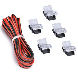 Wholesale Terminal Strips Wholesale - 5050 LED Connector Terminal 10mm 2 Pin Non-waterproof With UL Listed Extension Wire 9.8 Feet 3 Meter 20 Gauge Black-Red, Strip Light to Powe