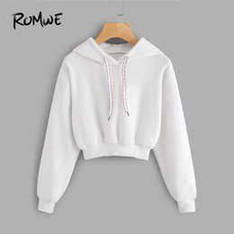 756fb5fcd81 ROMWE White Faux Fur Drawstring Crop Hoodie Female Casual Plain Autumn New  Style Pullovers Spring Hooded Long Sleeve Sweatshirt D18103002