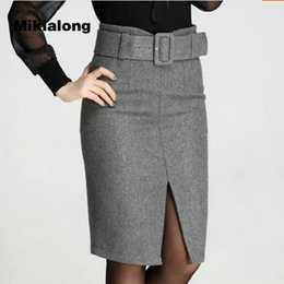 Wholesale Wool Skirts Vintage - Mikialong 2017 Korean OL Style Winter Wool Skirt Women Sexy Skinny Split Pencil Skirt with Belt Vintage High Waist Jupe Femme