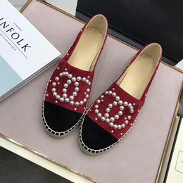 Wholesale pearl shoes heels - Luxury Women Soft Leather Espadrilles Pearl loafers Brand Designer Sheepskin Fashion Flats Woman high quality slip-on Casual Shoe,35-42