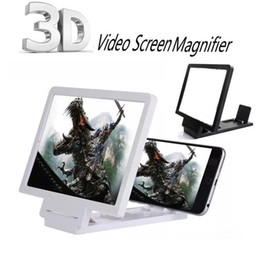 Wholesale Folding Magnifiers - Universal Mobile Phone Screen Enlarger Amplifier Magnifier 3D Video Display Folding Enlarged Expander Eyes Protection Holder Retail Package