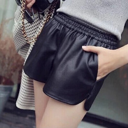 Wholesale Lady Summer Short Legging - Hot 2018 New Summer Elastic Waist Wide Leg PU Black Leather Shorts Women Ladies Loose Sexy Fashion Women Casual Shorts Plus Size