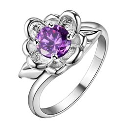 Красивые кольца для девочек онлайн-925 jewelry silver plated ring jewelry fine nice flower ring top quality purple Crystal Women Girl gift AR062