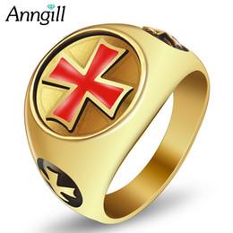 2019 diseños antiguos anillos de oro ANNGILL Anillo cruzado para hombre, mujer, color dorado, acero inoxidable, anillo fresco, punk, tamaño grande, roca masculina, diseño antiguo, joyería de anéis rebajas diseños antiguos anillos de oro