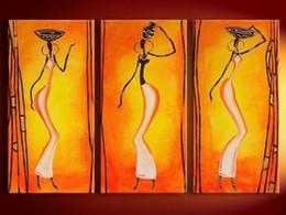 pinturas de arte africana mulheres Desconto 3 Painel de Imagens Mulheres Africanas Pintados À Mão Pinturas A Óleo Da Lona Papel De Parede Moderna Home Decor Wall Art Handmade Pintura