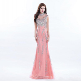 2019 Sparkle High Neck Floor Length Lace Prom Dresses Long Beading Sequins  Evening Gowns Sexy Back With Sheer Tulle Chic Party Dress 5d09354538de