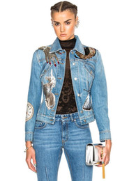 patch bomber women Promo Codes - New Design Lapel Neck Sequined Jackets Long Sleeve Single Button High Quality Winter Women Bomber Denim Sequin Jacket S M L Free shipping