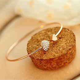 pêssegos de ouro Desconto Beijo esposa moda quente coração de pêssego amor cristal abertura pulseira de ouro pulseiras de strass mulheres pulseiras presente de natal
