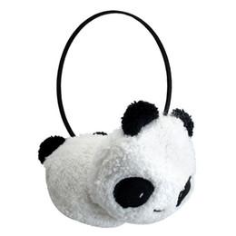 schwarzes fauxpelzstirnband Rabatt Netter großer flaumiger Pelz-Plüsch-Panda-Ohrenschützer-Winter-Ohr-Wärmer-Damen-Frauen-Mädchen