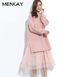 Wholesale Korean Two Piece Dresses - [MENKAY] 2018 Korean Spring Fashion New Loose Fake Two Pieces Tulle Stitching Striped Knitted Dresses women Sweet Fashion Ladies