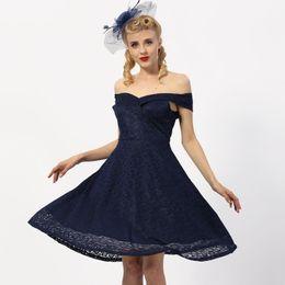 Wholesale elegant women night dress - New Lace Elegant Lady 1950s Bow Dress Off Shoulder Vintage Women Sexy Front Back V Neck Party Dress Gorgeous Burgundy Dresses DK9026cl