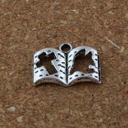 Wholesale Antiques Books - Hot ! 100 pcsCross book Charm Pendants 200Pcs lot Hot sell Antique Silver Jewelry DIY 17x13.5mm
