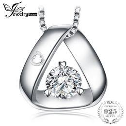 Canada JewelryPalace 925 Sterling Silver Triangle Gravé Coeur 0.3ct Cubique Zircone Pendentif Collier 45 cm Boîte Chaîne Cadeau Pour Elle S18101105 Offre