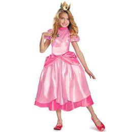 2019 spandex zentai superman Little Princess Peach Disfraz Super Mario Brothers Princess Cosplay Clásico juego de disfraces para niños niña de disfraces de Halloween