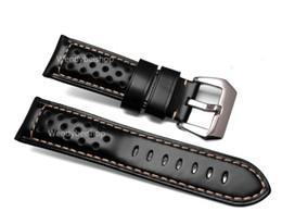 Wholesale Vintage Wrist Bands - 22 24 26mm Wholesale Men Women Black Brown Real Leather Handmade Thick VINTAGE Wrist Watch Band Band Strap Belt Brushed Buckle