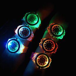 Discount geneva watches crystal diamond - Luminous Geneva Watch Luxury Unisex Diamond LED Night Light Crystal Men and Women Wristwatch Slicone Band Rhinestone Quartz Watches