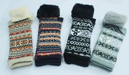 Wholesale Knitted Arm Warmer - Fashion Women's Knit Gloves Fluffy Wrist Arm Warmer Fingerless Winter Mitten