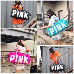 Wholesale new style clothes for women - New Style Pink Letter Design Women Handbag Creative Oversize Shoulder Bag Waterproof Duffel Package For Outdoor Travel Hot Sale 32cya Z