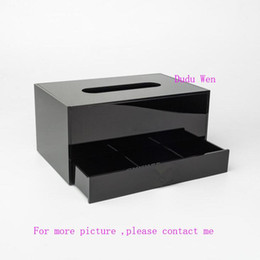 Wholesale Square Storage Case - Luxury two layers logo Acrylic storage Box for tissue cause and Jewelry Storage Case fashion Organizer for desktop Collection