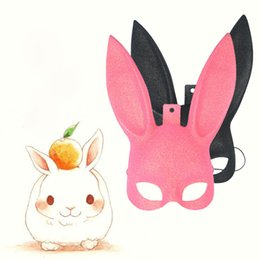 Wholesale Carnival Rabbit Costumes - Rabbit Masquerade Mask Sexy Bunny Long Ears Carnival Halloween Costume Party Masks Wholesale