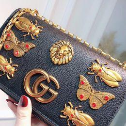 Wholesale Designer Purses Satchel - Luxury GuccX designer Handbags New animal lion inset Shoulder Bag Crossbody Bags high quality PU rivet Purse lady women wallet 180111005