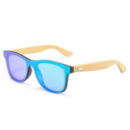 Espejo enmarcado de bambú online-Marco de bambú Diseño Gafas de sol Moda Hombres Gafas de sol cuadradas Gafas Gafas Espejo Revestimiento Sombras Gafas de sol UV400