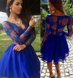 2019 quinceanera sweetheart formal homecoming Tulle Vestido de Baile Rendas Azul Mini Vestidos de Baile Curto Cocktail Party Vestidos Ruffles Lace Manga Longa Doce 16 Vestidos de Vestido de Baile