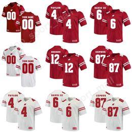 9b9001d25 Wisconsin Badgers College 12 Alex Hornibrook Jersey Football 87 Quintez  Cephus 6 Danny Davis III 4 AJ Taylor Red Custom Any Name Number