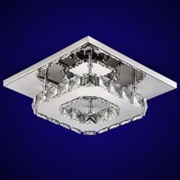 Luz de techo LED de lujo Cuadrado K9 Cristal Transparente / Ámbar Lustre lámparas led hogar pasillo pasillo balcón accesorios de luz desde fabricantes